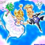 свадебный шарж жених и невеста