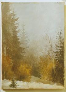 Пейзаж масло лес зима