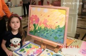 художник на детском празднике, дети рисуют