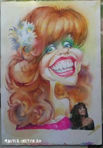 шарж акварель watercolor cartoon portret girl