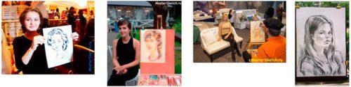 Портертист на мероприятие — блиц портреты с натуры — коллаж