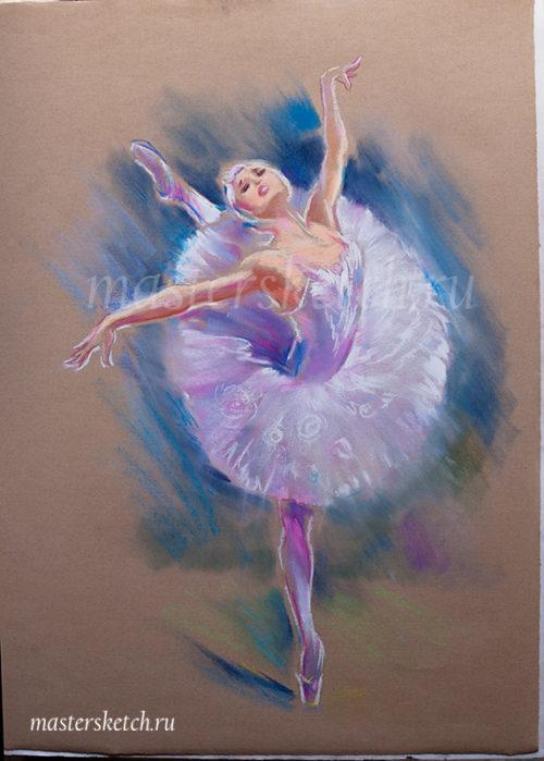 портрет пастелью — портрет по фотографии — танец белого лебедя