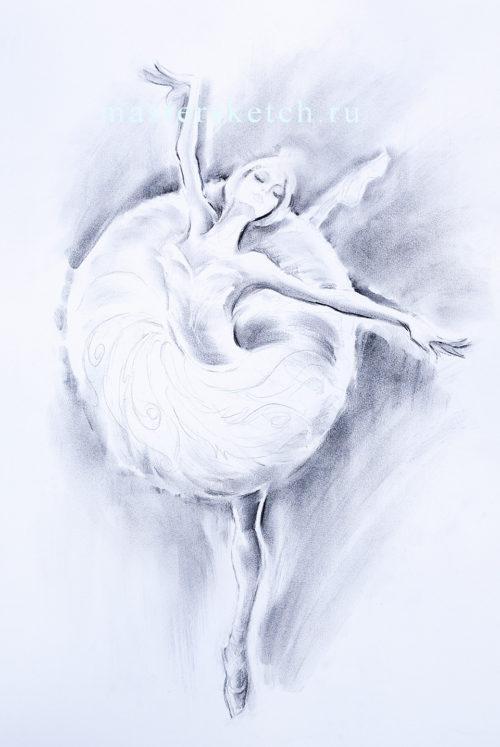 Ростовой портрет, женская фигура карандашом, Одетта, Лебединое озеро