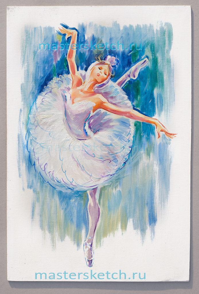 Ростовой портрет — холст, масло Одетта (белый лебель) — балет Лебединое озеро
