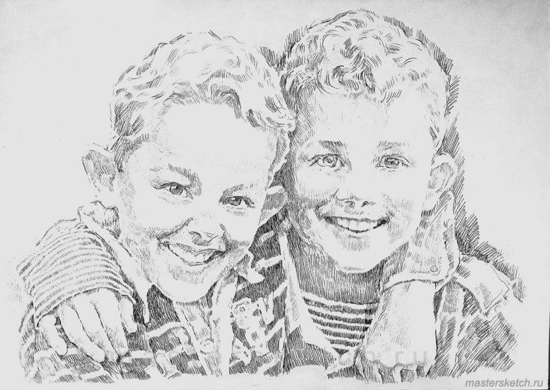 Детский портрет карандашом заказать
