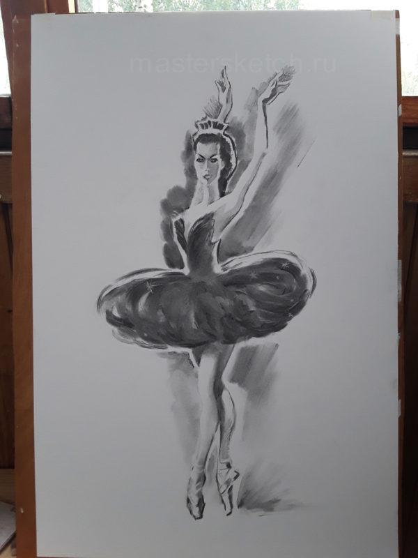 Ростовой портрет карандашом, Одилия, лебединое озеро
