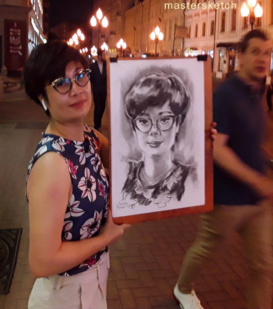 Портрет девушки, зарисовочный портрет, портрет на Арбате