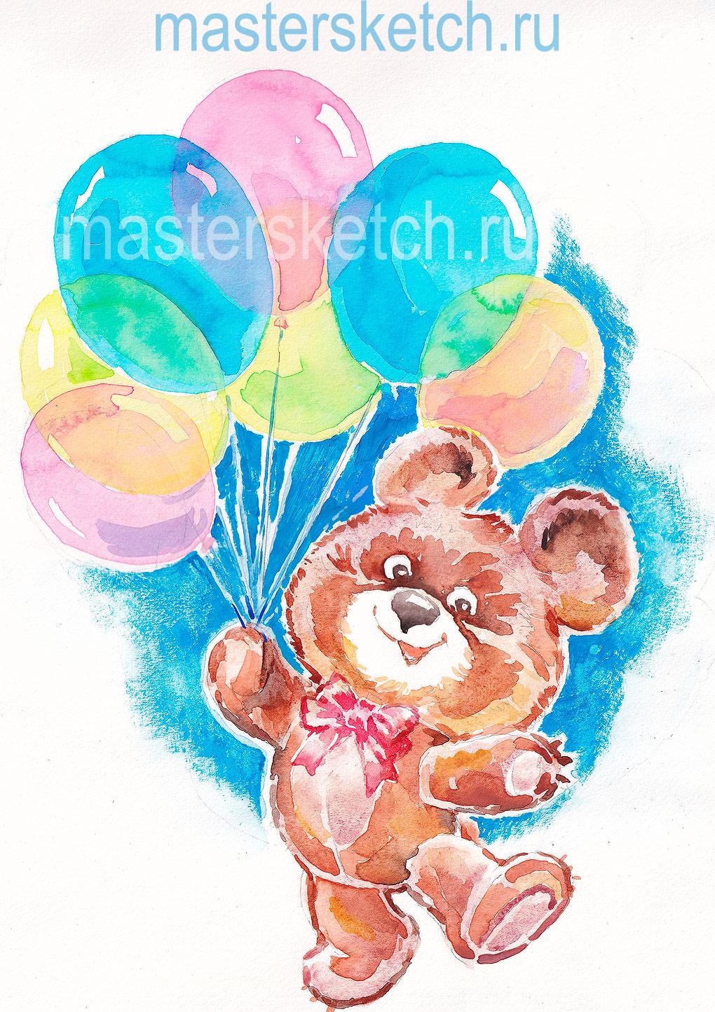 медвежонок, воздушные шарики