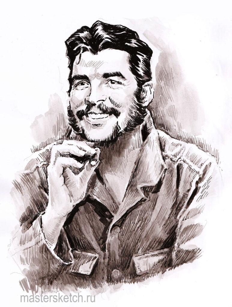 Che Guevarra, Че Гевара, портрет тушью