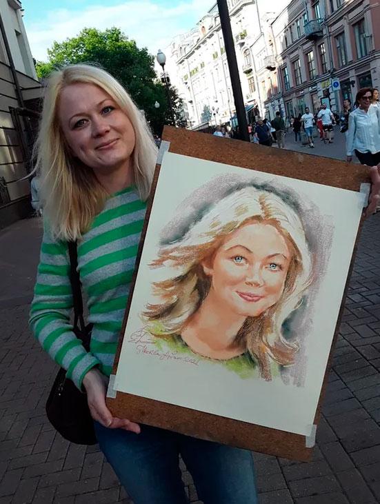 Портрет с натуры, портрет на Арбате Портрут с натуры, рисовал летом на Арбате.